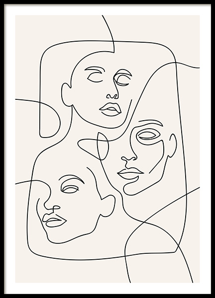The Three Faces Line Art Plakát ve skupině Plakáty / Ilustrace na Desenio AB (12506)